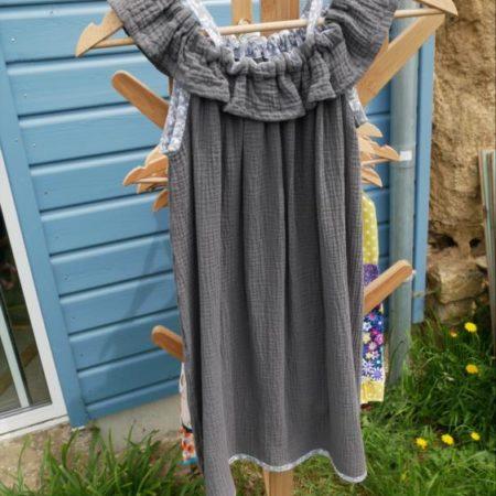 robe gaze de coton à volant